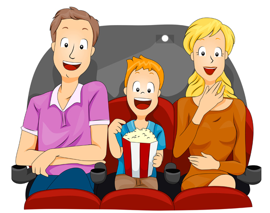 Resultado de imagen de cine en familia dibujo