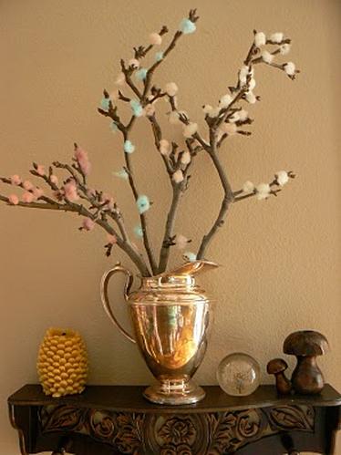 Ramas de rbol decoradas con lana ed kame - Decoracion con ramas de arboles ...