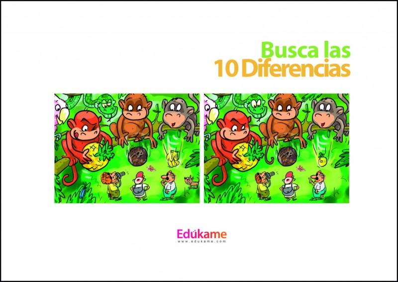 Imprimible Encuentra Las 10 Diferencias En La Jungla Ed 250 Kame