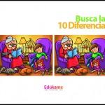 Imprimible Encuentra las 10 diferencias en casa de la abuela