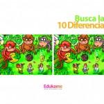 Imprimible Encuentra las 10 diferencias en la jungla
