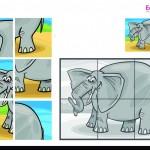 Imprimible Puzzle Elefante