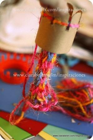 tejedora Edukame Enseñando a los niños a tejer sin agujas